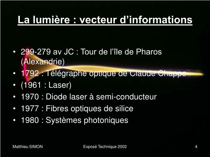 La lumière : vecteur d'informations