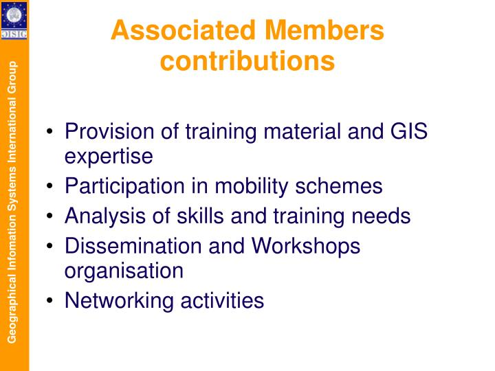 Associated Members contributions