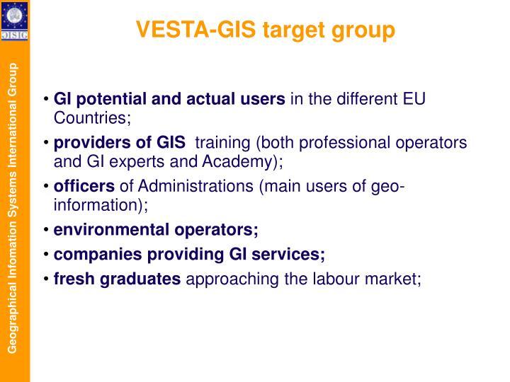 VESTA-GIS target group