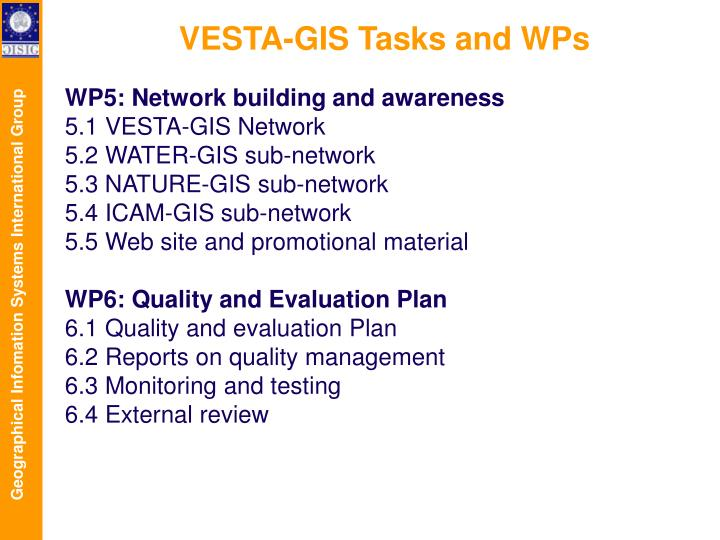 VESTA-GIS Tasks and WPs
