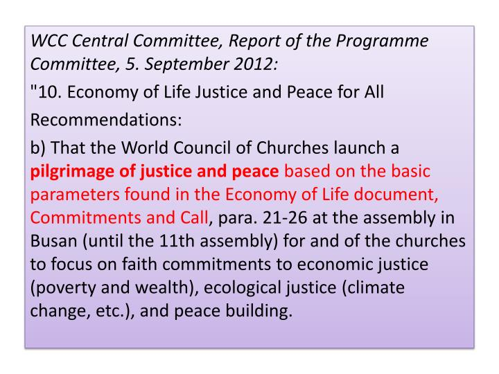 WCC Central Committee, Report of the Programme Committee, 5. September 2012: