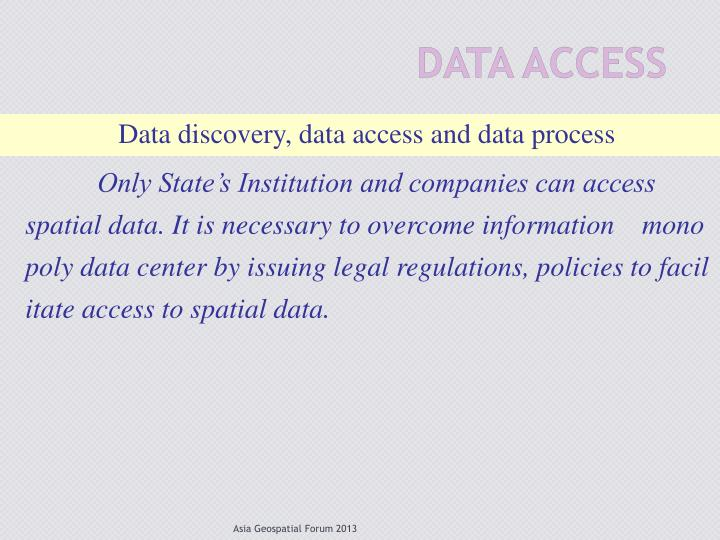 Data discovery, data access and data process