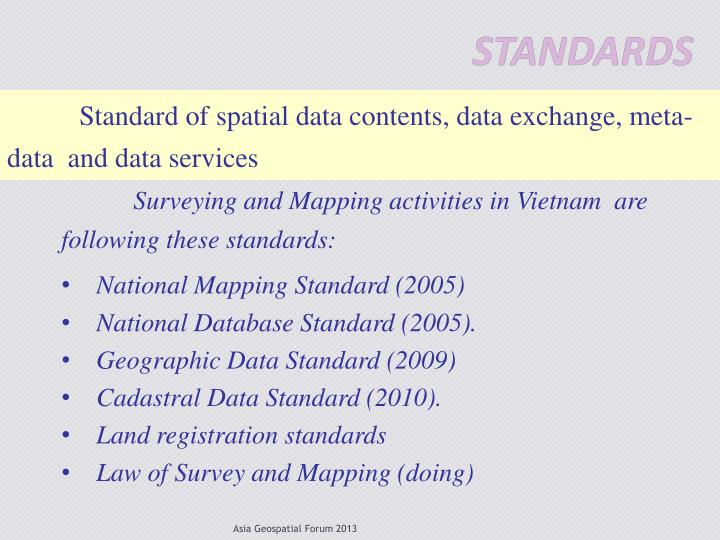 Standard of spatial data contents, data exchange, meta- data  and data services