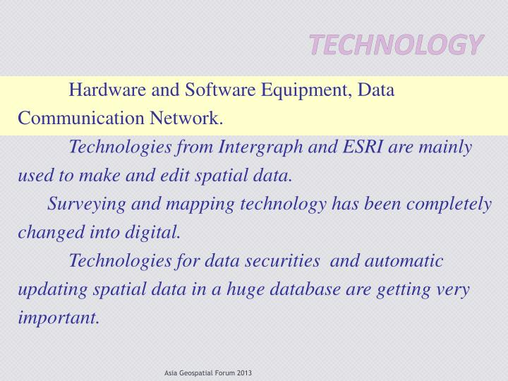 Hardware and Software Equipment, Data