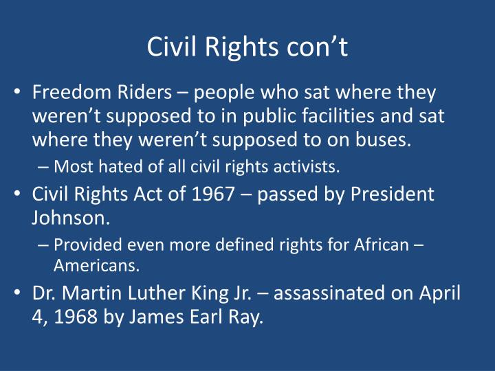Civil Rights con't