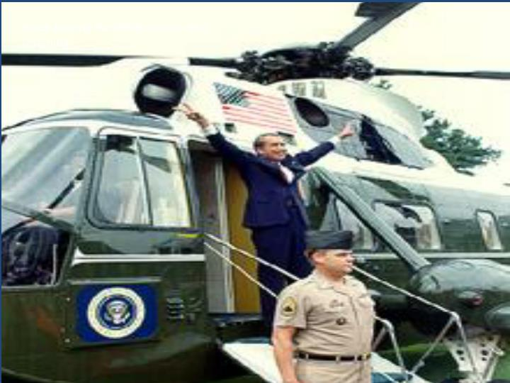 Nixon leaving the White House after resigning.