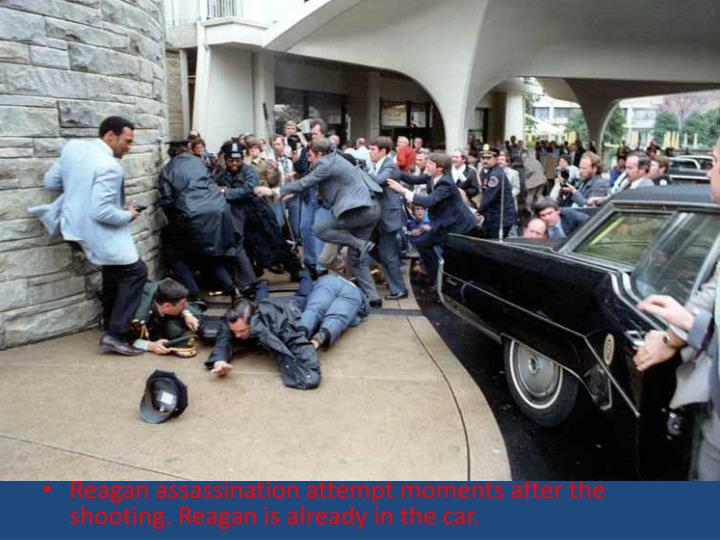 Reagan assassination attempt moments after the shooting. Reagan is already in the car.