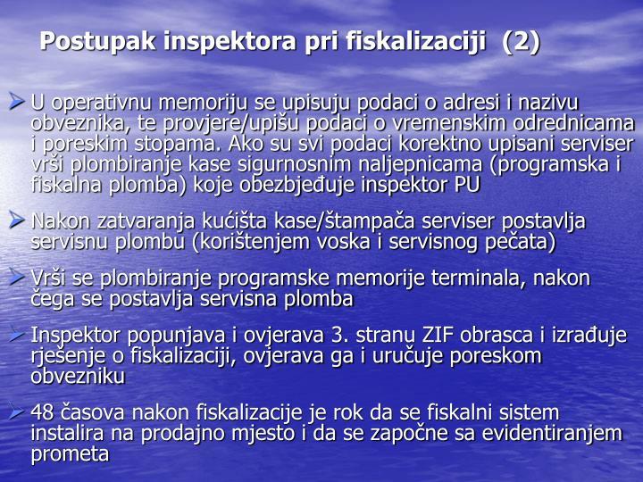 Postupak inspektora pri fiskalizaciji  (2)