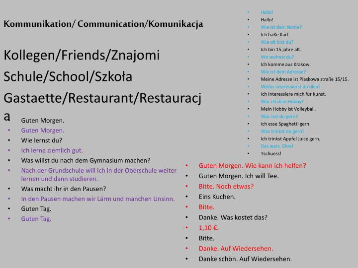 Kommunikation/ Communication/Komunikacja