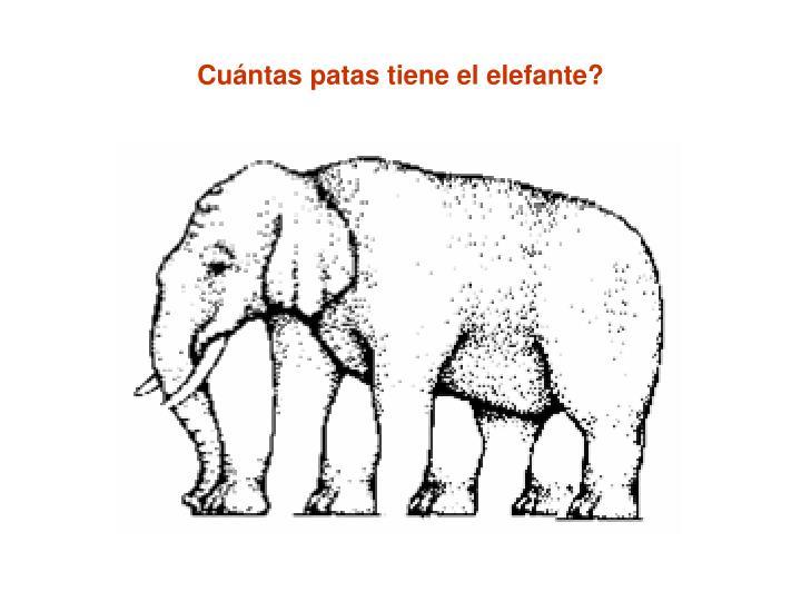 Cuántas patas tiene el elefante?