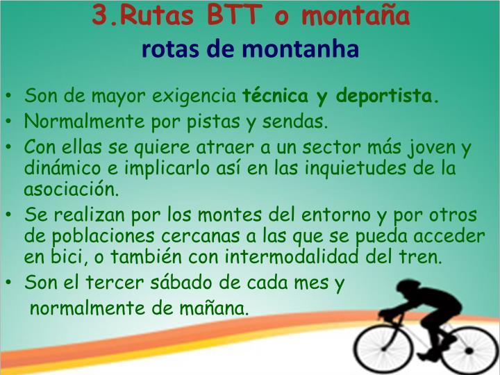 3.Rutas BTT o montaña