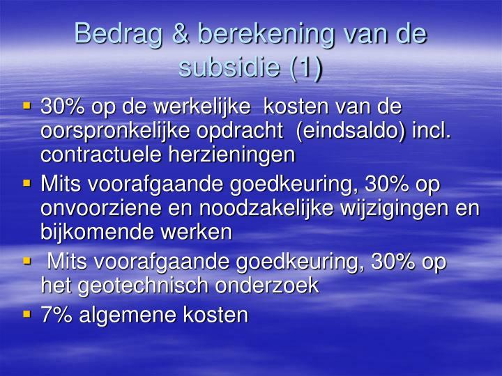 Bedrag & berekening van de subsidie (1)