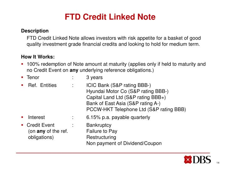 FTD Credit Linked Note