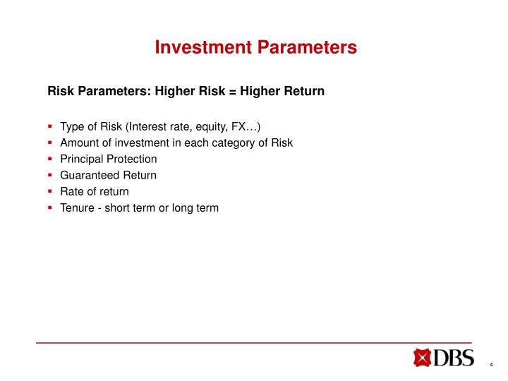 Investment Parameters