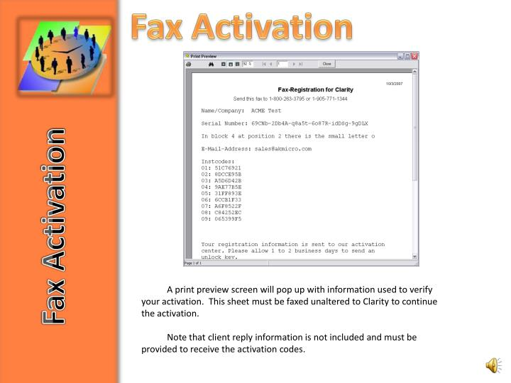 Fax Activation