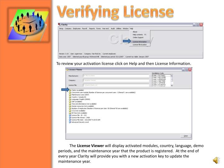 Verifying License