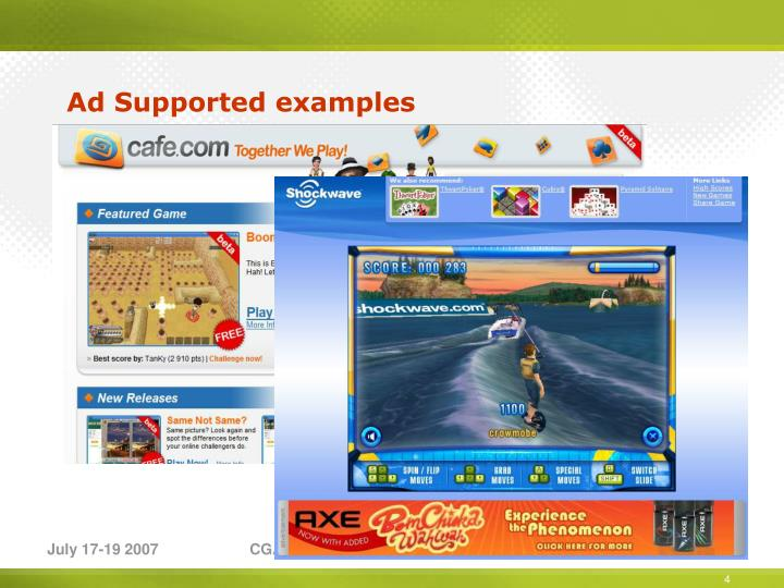 Ad Supported examples