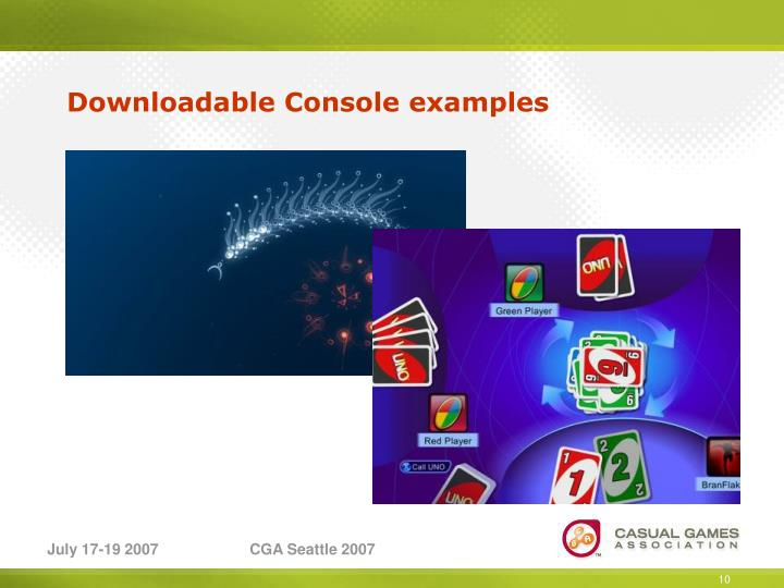 Downloadable Console examples