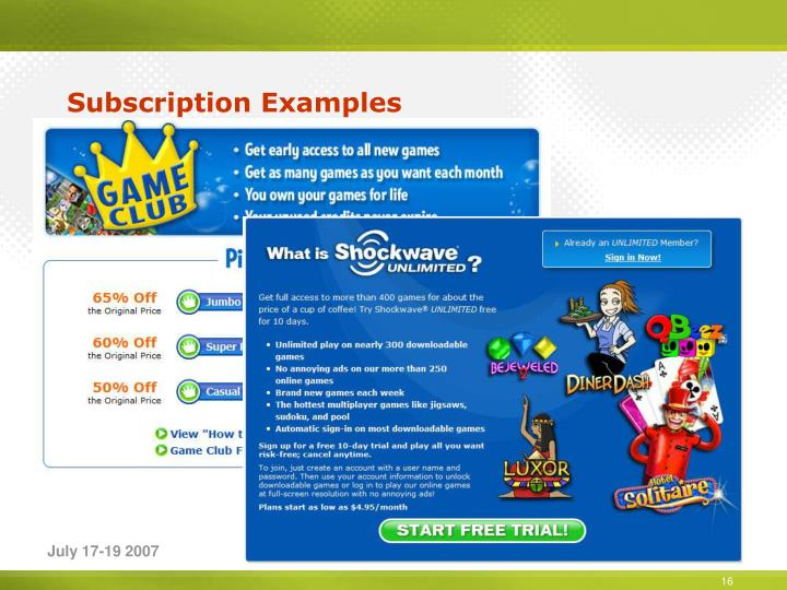 Subscription Examples
