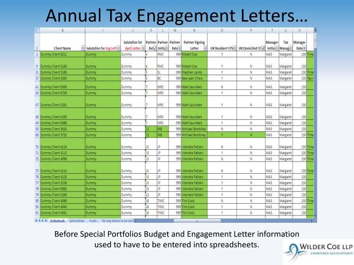 Annual Tax Engagement Letters…