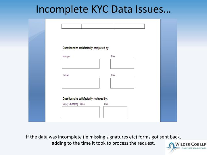 Incomplete KYC Data Issues…