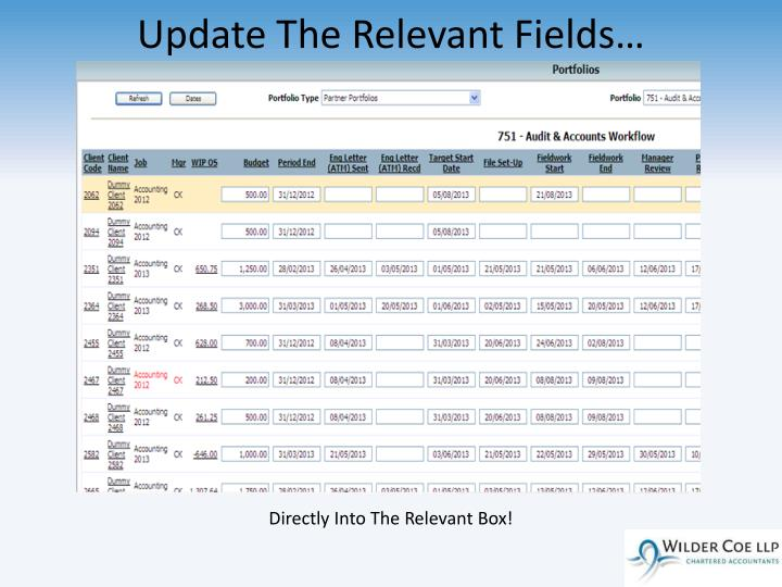 Update The Relevant Fields…