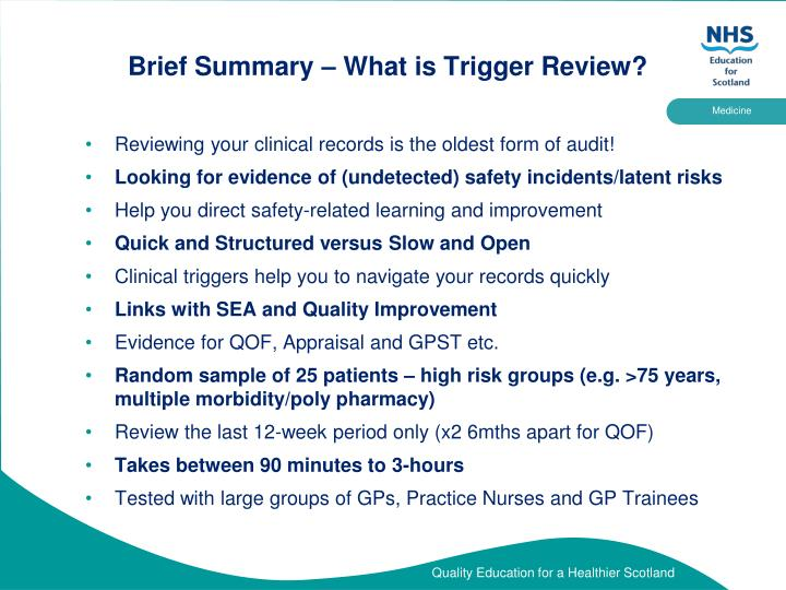 Brief summary what is trigger review