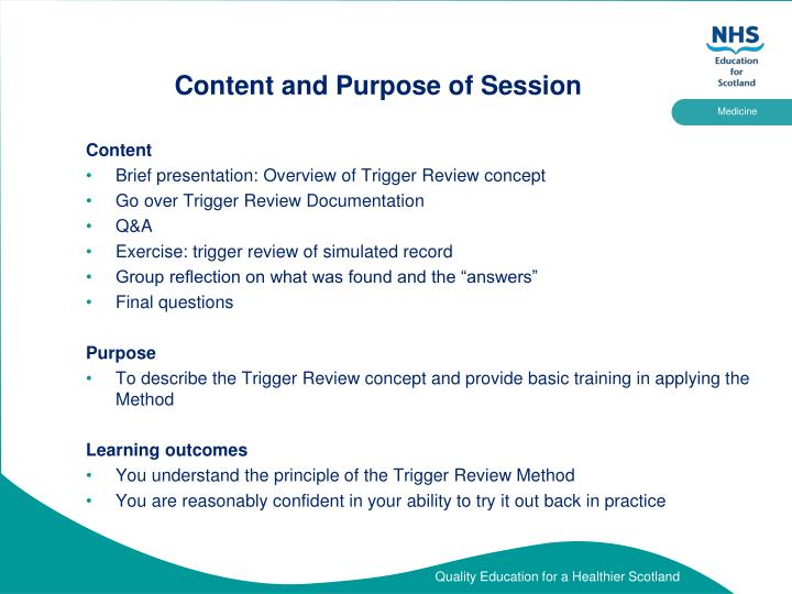 Content and purpose of session