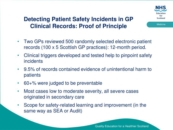 Detecting Patient Safety Incidents in GP Clinical Records: Proof of Principle
