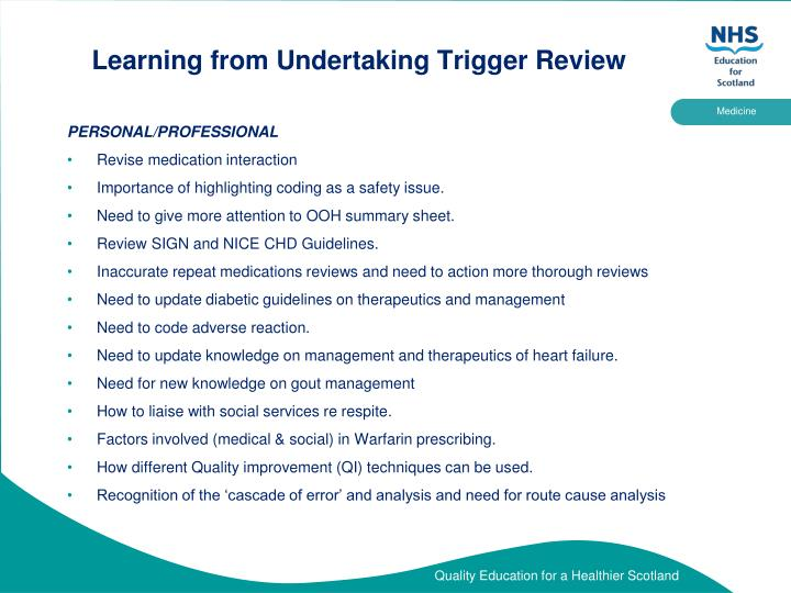 Learning from Undertaking Trigger Review