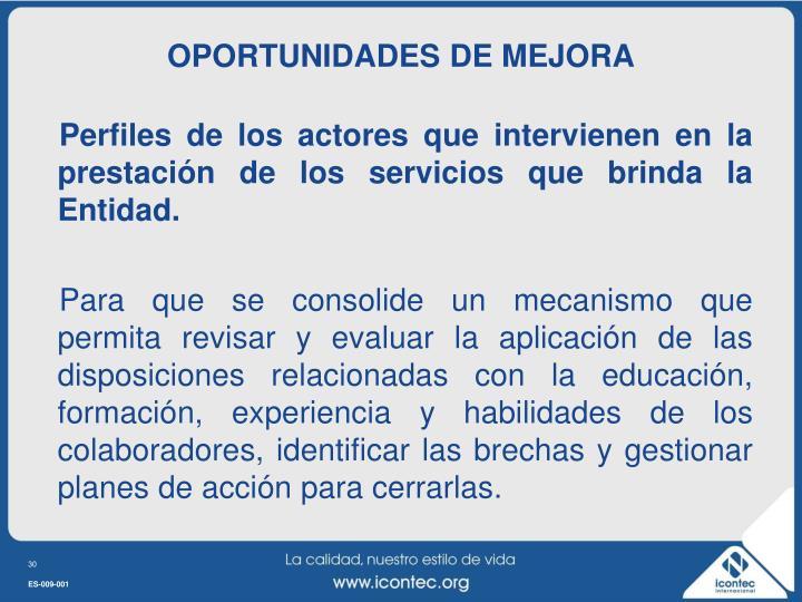 OPORTUNIDADES DE MEJORA