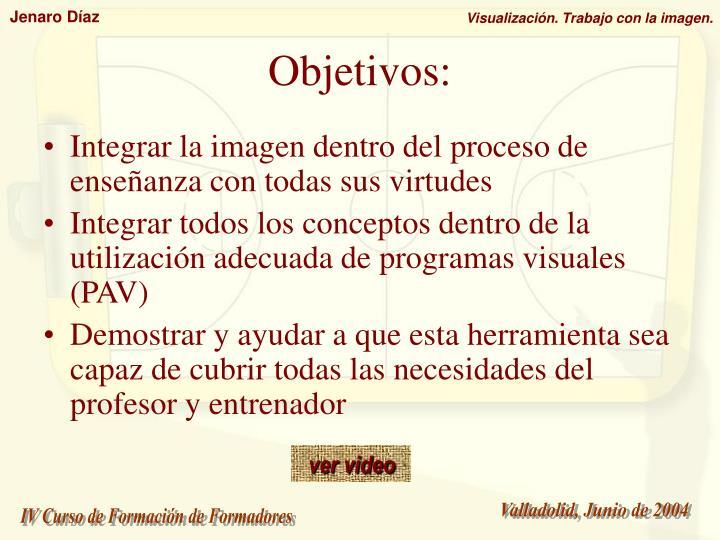 Integrar la imagen dentro del proceso de enseñanza con todas sus virtudes