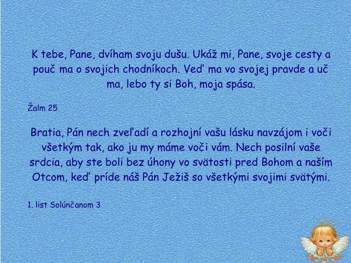 K tebe, Pane, dvham svoju duu. Uk mi, Pane, svoje cesty a pou ma o svojich chodnkoch. Ve ma vo svojej pravde a u ma, lebo ty si Boh, moja spsa.
