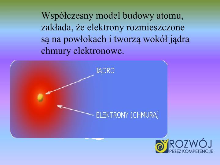 Wspczesny model budowy atomu, zakada, e elektrony rozmieszczone s na powokach i tworz wok jdra chmury elektronowe.