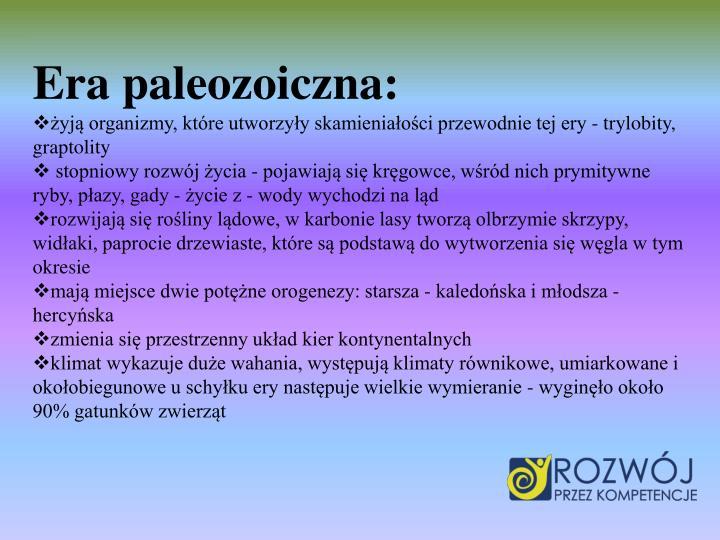 Era paleozoiczna:
