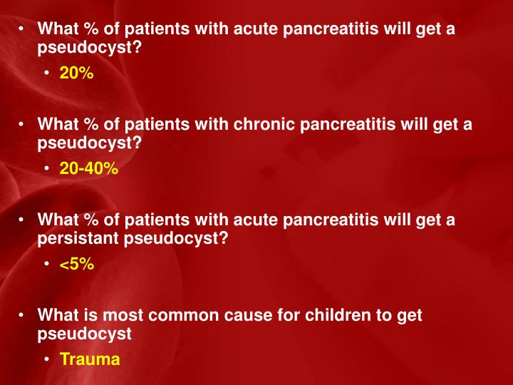 What % of patients with acute pancreatitis will get a pseudocyst?