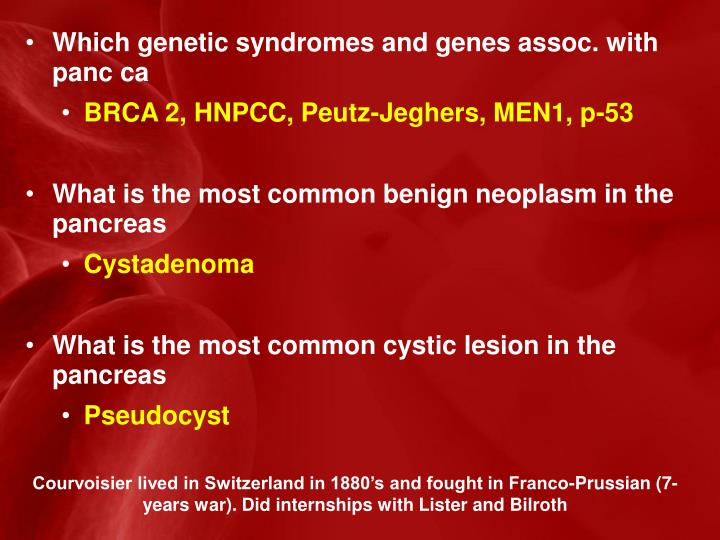 Which genetic syndromes and genes assoc. with panc ca