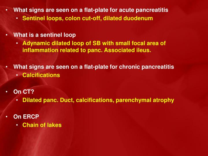 What signs are seen on a flat-plate for acute pancreatitis