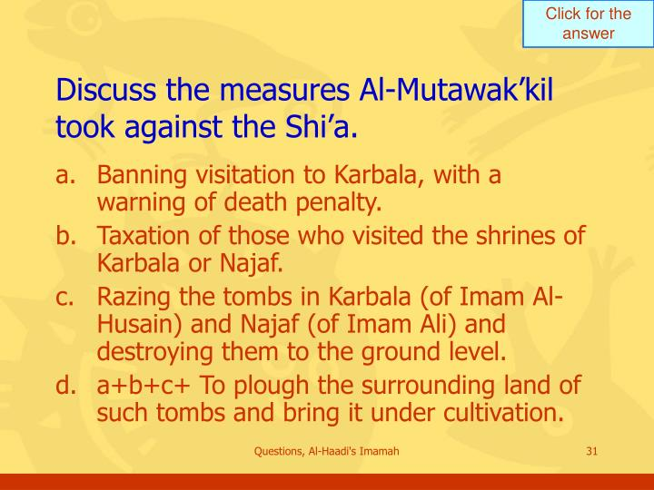 Discuss the measures Al-Mutawak'kil took against the Shi'a.