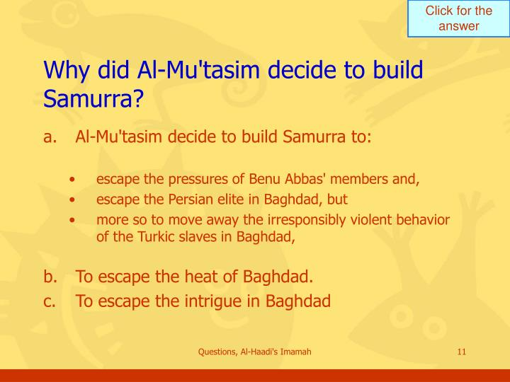 Why did Al-Mu'tasim decide to build Samurra?