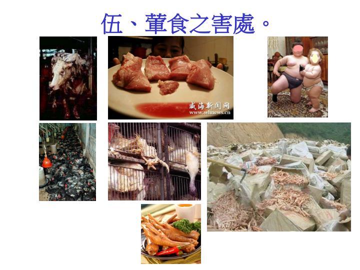 伍、葷食之害處。