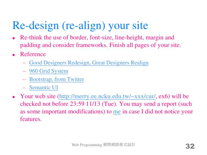 Re-design (re-align) your site