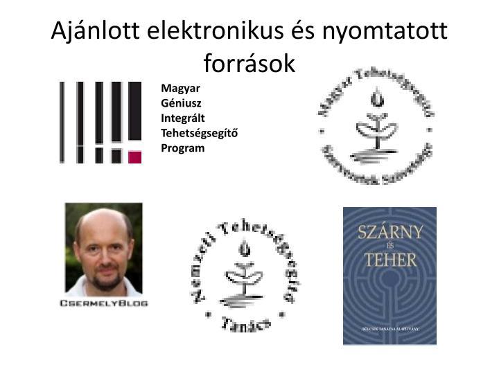 Ajánlott elektronikus és nyomtatott források