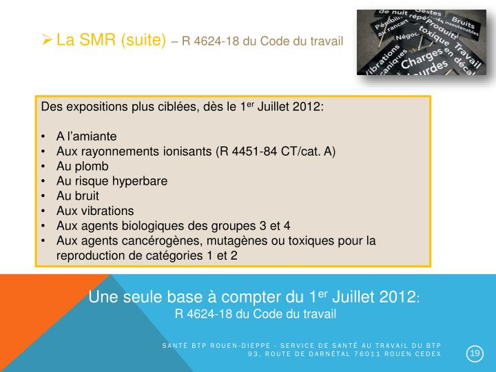 La SMR (suite)