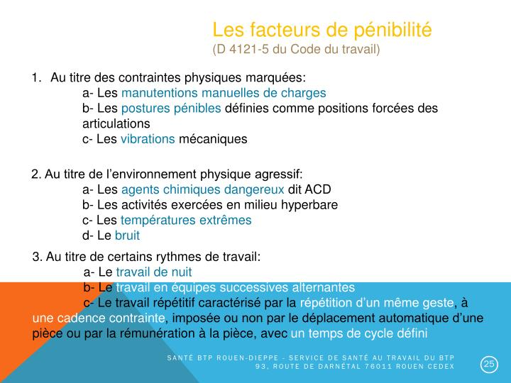 Les facteurs de pénibilité