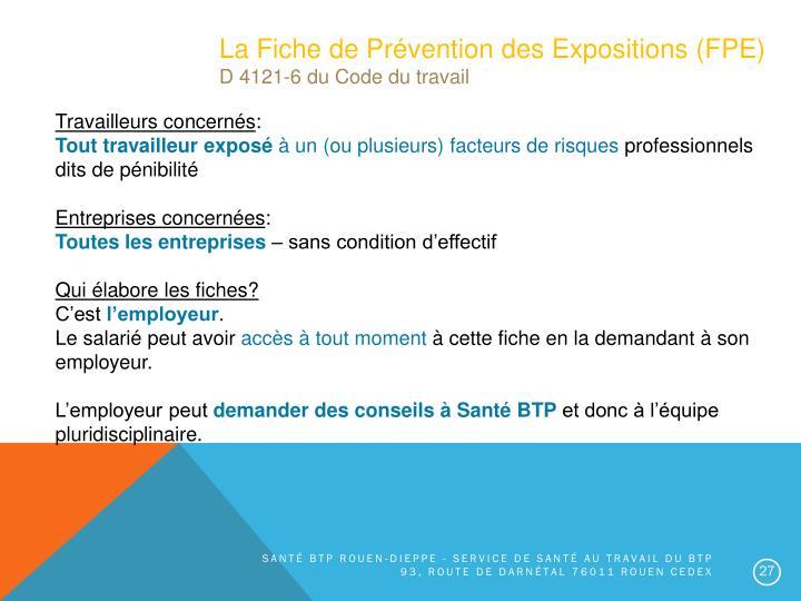 La Fiche de Prévention des Expositions (FPE)