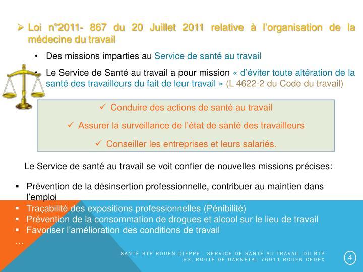 Loi n°2011- 867 du 20 Juillet 2011 relative à l'organisation de la médecine du travail