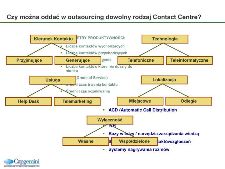 Czy można oddać w outsourcing dowolny rodzaj Contact Centre?