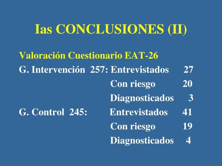 Ias CONCLUSIONES (II)