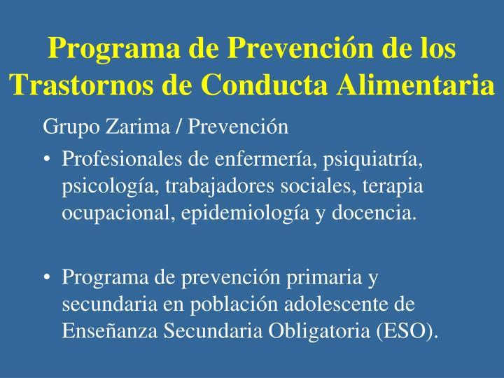 Programa de Prevención de los Trastornos de Conducta Alimentaria